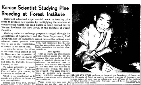 Professor HYUN Sin-kyu was reported in a local newspaper Mountain Democrat while he was in UC Berkeley in 1951.
