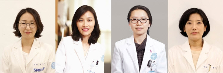 (From left) Doctors YOON Yeonyee (Cardiology), KIM Kyung-Min (Endocrinology), YUN Bo-La (Radiology), and SUH Jung-Won (Cardiology)