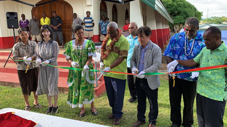 A ceremony to celebrate the completion of the rainwater harvesting facility in Vanuatu